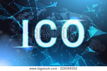 Ico Sign Over Futuristic Low Poly Mesh Wireframe On Blue Background Initial Coin Offering Concept Ve