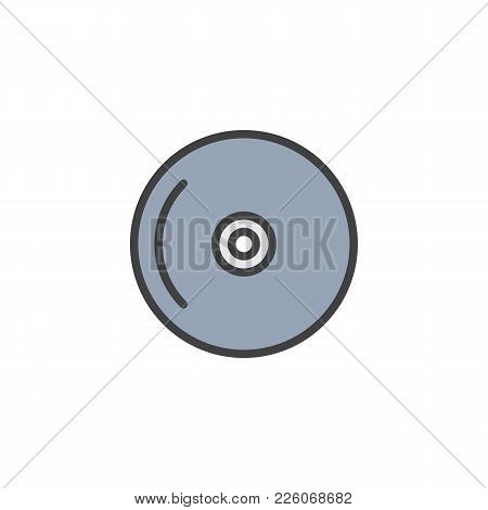 Compact Disc Filled Outline Icon, Line Vector Sign, Linear Colorful Pictogram Isolated On White. Cd,