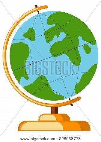 Icon Cartoon Poster School College University Science Globe Earth World. Flat Vector Illustration Fo