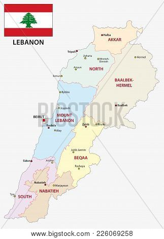 Lebanon Administrative And Political Vector Map With Flag