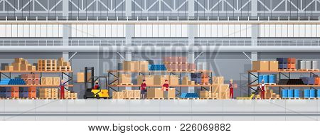 People Working In Warehouse Lifting Box With Forklift. Logistic Delivery Service Concept Horizontal