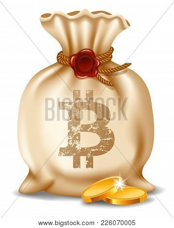 Bitcoins In Bag. Digital Currency. Cryptocurrency. Beige Canvas Bag With Bitcoin Symbol And Golden C