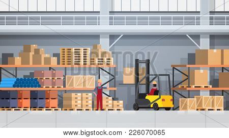 Workers Of Warehouse Lifting Box With Forklift On Rack. Logistic Delivery Service Concept Flat Vecto