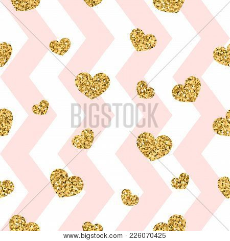 Gold Heart Seamless Pattern. Pink-white Geometric Zig Zag, Golden Confetti-hearts. Symbol Of Love, V