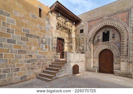 Gate Of Darb Al Labana, A Bahari Mameluke Era Gate With Small Iron Bars Window And Decorated With Wo
