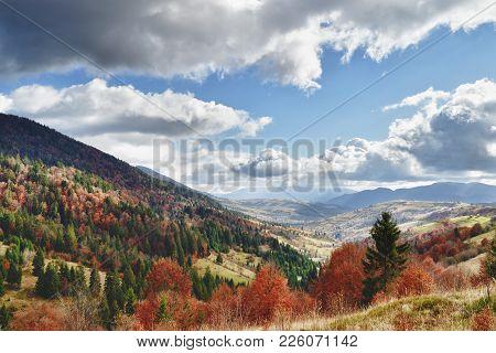 Autumn Mountain Landscape In Carpathian Mountain Range, Ukraine.