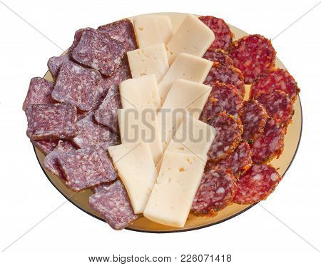 A Plate With Slices Of Sausage And Cheese Isolated On White Background. Slices Of Salami, Cervelat A