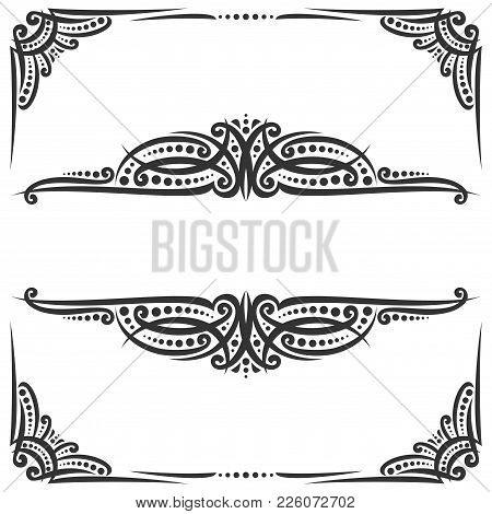 Vector Decorative Black Frames On White, Ornate Decoration With Flourishes For Wedding Invitation, V