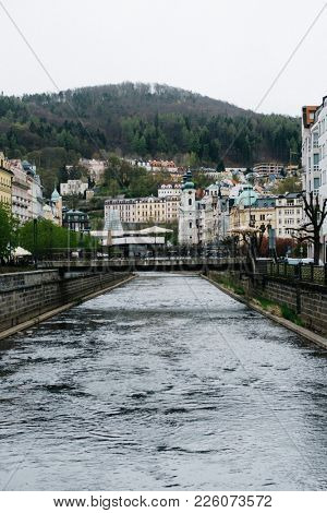 Karlovy Vary in springtime, view from river Tepla, Czech Republic