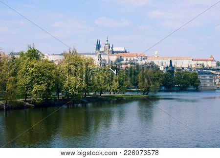 View of the Prague Castle across Vltava River in springtime, Pargue, Czech Republic
