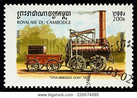Moscow, Russia - February 10, 2018: A Stamp Printed In Cambodia, Shows Locomotive Foster And Rastric