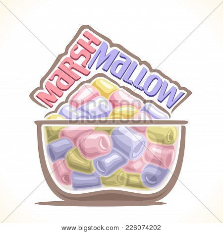 Vector Illustration Of Marshmallow, Poster With Original Typeface For Pink And Blue Word Marshmallow