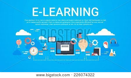 E-learning Education Online Background With Copy Space Global Distance Learning Concept Flat Vector