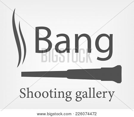 Shooting Gallery Logo Concept. Gun With Smoke Isolated Icon
