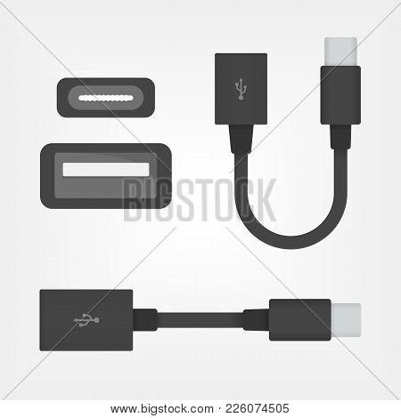 Usb Otg Black Cable Icon, Vector On-the-go Cable Symbol Or Logo