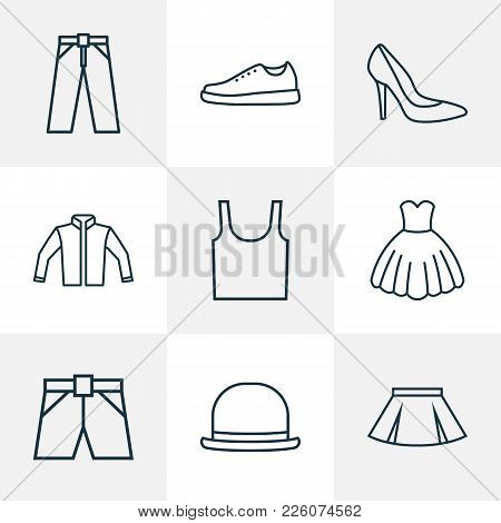 Garment Icons Line Style Set With Underwear, Evening Gown, Heels And Other Gumshoes Elements. Isolat