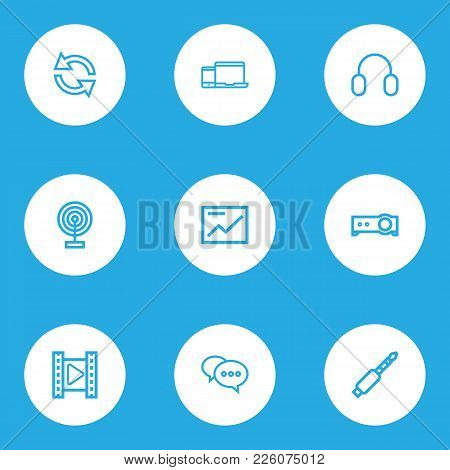 Music Icons Line Style Set With Comment, Jack, Headphone And Other Movie Elements. Isolated Vector I