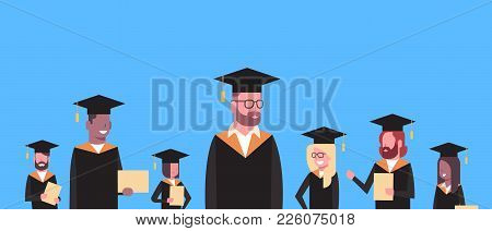 Group Of Mix Race Students In Graduation Cap And Gown Hold Diploma Horizontal Banner Flat Vector Ill