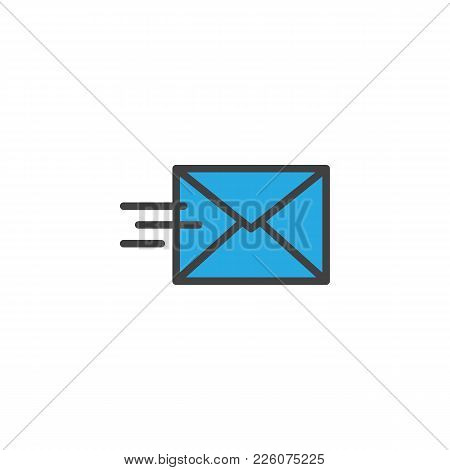 Mail Send Filled Outline Icon, Line Vector Sign, Linear Colorful Pictogram Isolated On White. Send M