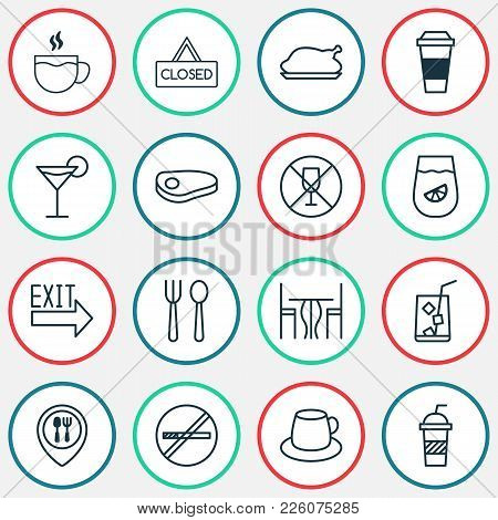 Restaurant Icons Set With Coffee Cup, No Drinking, Silverware And Other Stop Smoke Elements. Isolate