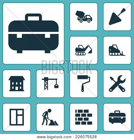 Architecture Icons Set With Window, Excavator, Concrete Mixer And Other Spatula Elements. Isolated V