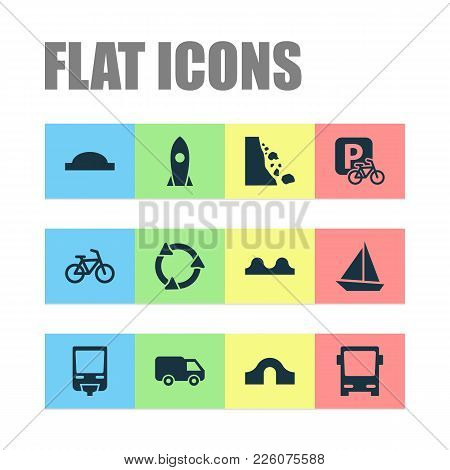 Transportation Icons Set With Hump Bridge, Roundabout, Van And Other Bicycle Elements. Isolated Vect