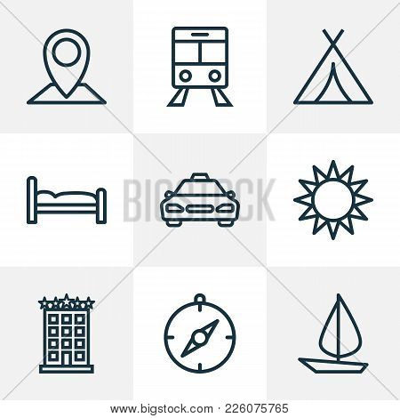 Traveling Icons Line Style Set With Cab, Compass, Sun And Other Canopy Elements. Isolated Vector Ill