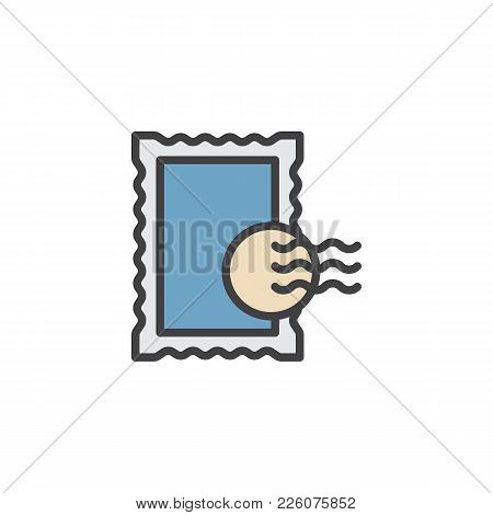 Post Stamp Filled Outline Icon, Line Vector Sign, Linear Colorful Pictogram Isolated On White. Symbo