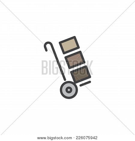 Trolley Handcart With Cardboard Boxes Filled Outline Icon, Line Vector Sign, Linear Colorful Pictogr