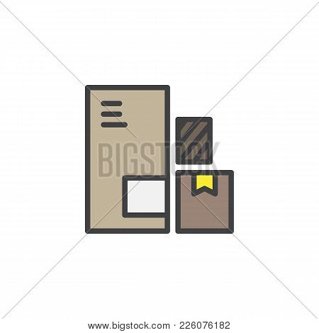 Delivery Packaging Boxes Filled Outline Icon, Line Vector Sign, Linear Colorful Pictogram Isolated O