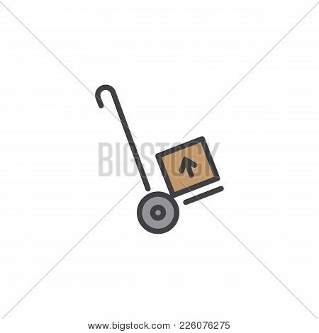 Hand Trolley, Handcart Filled Outline Icon, Line Vector Sign, Linear Colorful Pictogram Isolated On