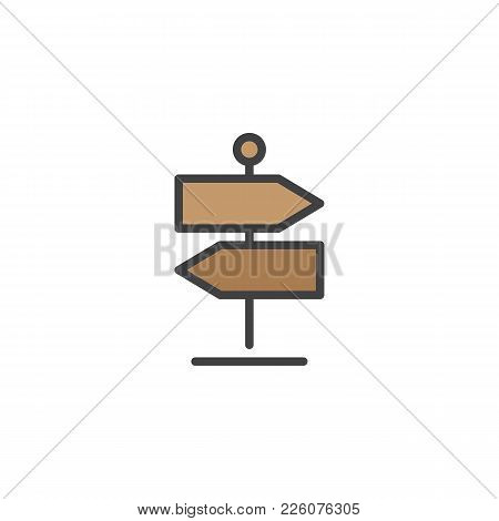 Signpost Filled Outline Icon, Line Vector Sign, Linear Colorful Pictogram Isolated On White. Directi