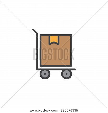 Hand Truck With Cardboard Box Filled Outline Icon, Line Vector Sign, Linear Colorful Pictogram Isola