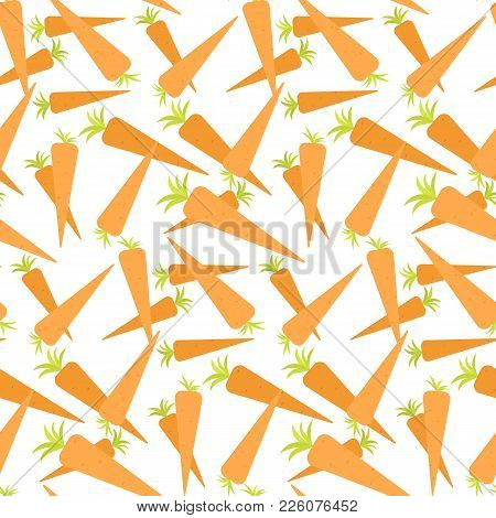 Vector Seamless Pattern With Orange Carrots On White Background. Vegetable Summer Pattern, Colorful