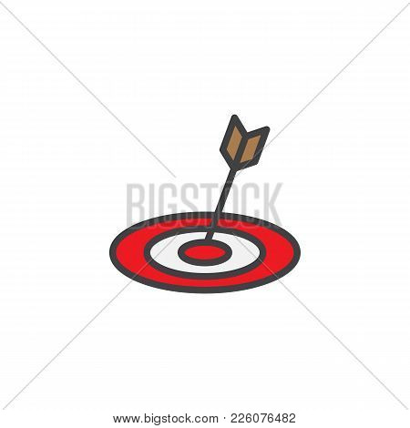 Target Dartboard Filled Outline Icon, Line Vector Sign, Linear Colorful Pictogram Isolated On White.