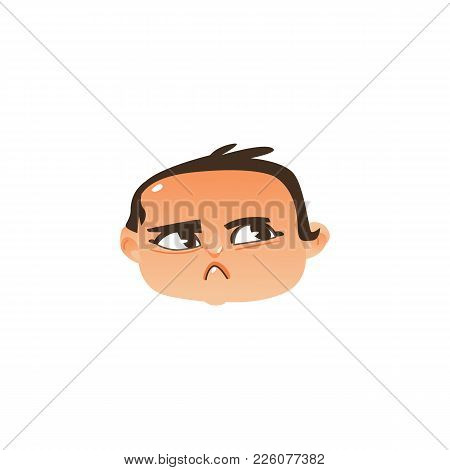 Comic Style Baby Head Icon With Angry, Suspicious Face Expression, Flat Vector Illustration Isolated