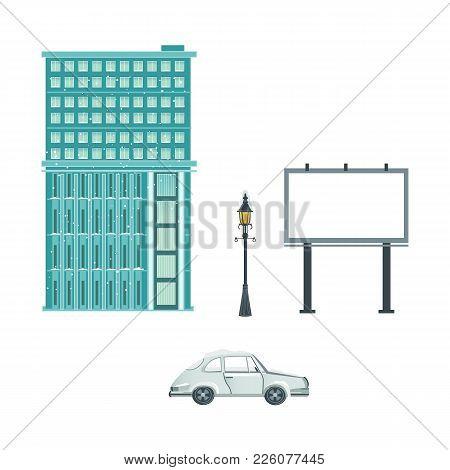 Vector Flat Urban Landscape Background Design Element Set. Streetlight, Lamppost Or Lantern, Car Veh