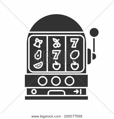 One Armed Bandit Glyph Icon. Slot Machine. Casino. Silhouette Symbol. Negative Space. Vector Isolate