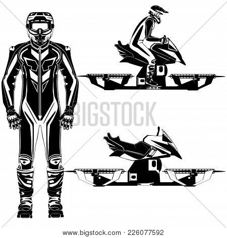 Vector Illustration Of Hover Bike Rider In Riding Suit And Protective Gear Riding Hoverbike, The Nex
