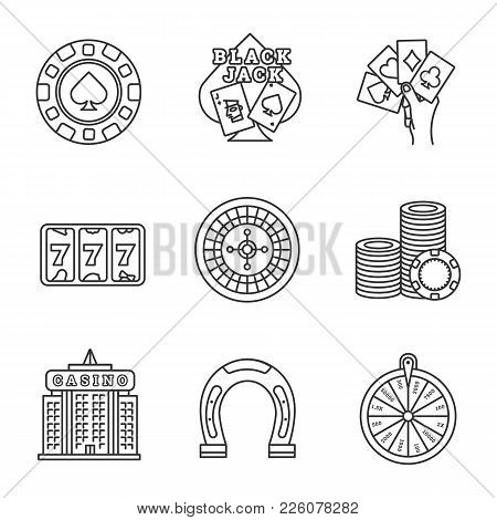 Casino Linear Icons Set. Four Aces, Lucky Seven, Gambling Chip, Blackjack, Roulette, Casino Building