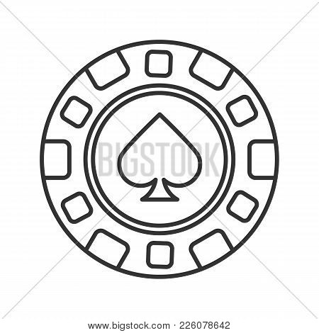 Casino Chip Linear Icon. Gambling Token With Spade Sign. Thin Line Illustration. Casino Contour Symb