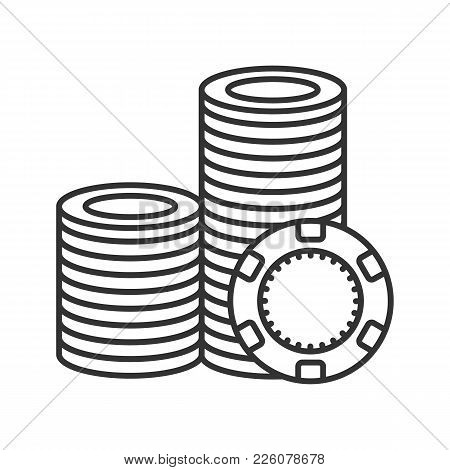 Casino Chips Stack Linear Icon. Gambling Token With Spade Sign. Thin Line Illustration. Casino Conto