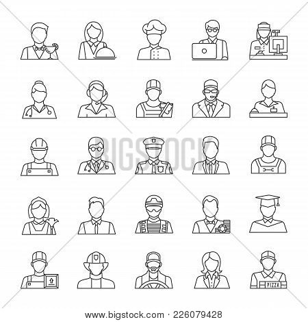 Professions Linear Icons Set. Occupations. Workers. Thin Line Contour Symbols. Isolated Vector Outli
