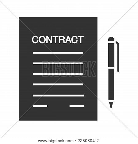 Business Agreement, Contract Glyph Icon. Document Paper With Pen. Silhouette Symbol. Employment Cont