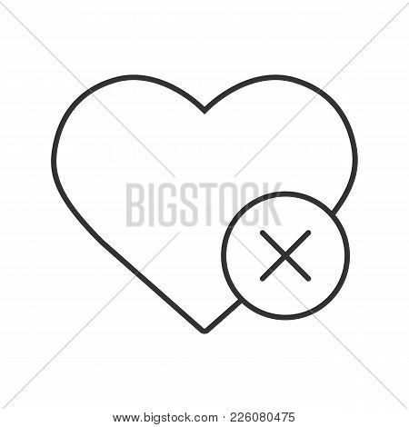 Heart With Cross Linear Icon. Thin Line Illustration. Delete Bookmark. Contour Symbol. Vector Isolat