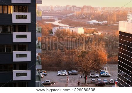 Bucharest, Romania - December 29, 2017: Aerial View Of Bucharest From Pipera District At Sunset. Vie