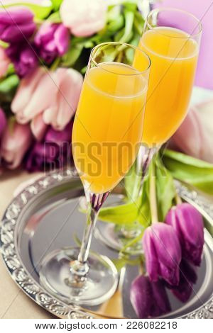 Two Glasses Of Mimosa Cocktail