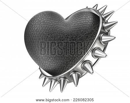 Evil Black Heart Covered Leather And Metallick Ring With Thorns. Isolated Over White Background 3d I