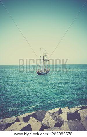Big Sailing Ship In Blue Ocean, Vintage Filter Applied