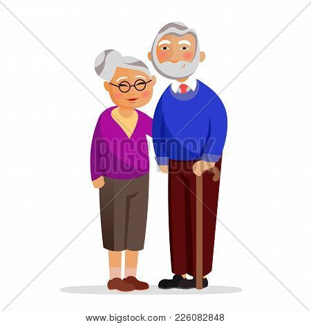 Happy Granny And Grandpa Standing Together And Hugging. Aged People Isolated On White Background. Gr